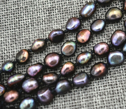 "7-8 mm Black Akoya Cultured Pearl Baroque Collier 18/"" AA 18K plaqué or Hoo RARE"