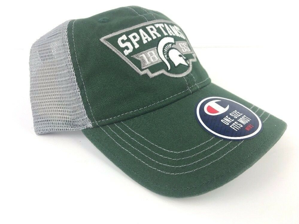 Michigan State Spartans Champion Hat Ball cap mesh New Champion Spartans Green Gray 8b57be