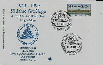 """100% QualitäT Logensiegel D 700 """"50 Jahre A.f.u.a.m.v.d."""" Lessing Zum Flammenden Stern München"""