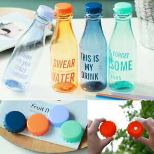 Portable-Travel-Water-Bottle-Drinking-Plastic-Cup-Straw-Double-Lid-Supplis-NEW