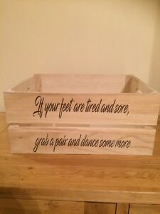 3a30ca18f72e0e Wooden Wedding Flip Flop Basket Crate Box Storage Shoe Personalised ...