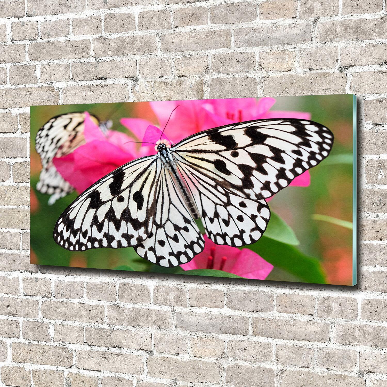 Glas-Bild Wandbilder Druck auf Glas 140x70 Deko Tiere Schmetterling Blaume