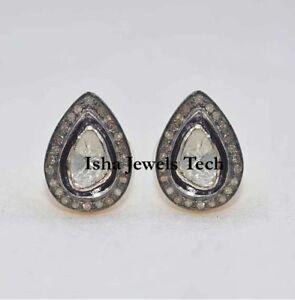 Diamond Jewelry Natural Diamond & Diamond Polki Gold & Sterling Silver Earrings