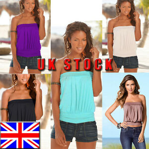433dec7bd6 UK Womens Strapless T-shirt Bandeau Plain Boob Tube Top Tank Ladies ...