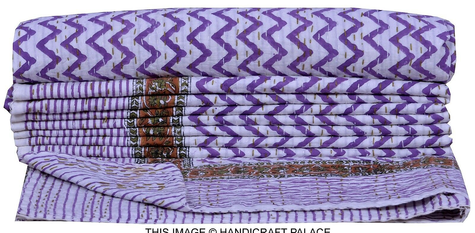 Indian Twin Kantha Quilt Cotton Throw Weiß Bedspread Coverlet Gudri Reversible