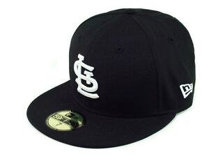 New-Era-59Fifty-Hat-MLB-Baseball-Hat-St-Louis-Cardinals-Black-White-5950-Cap