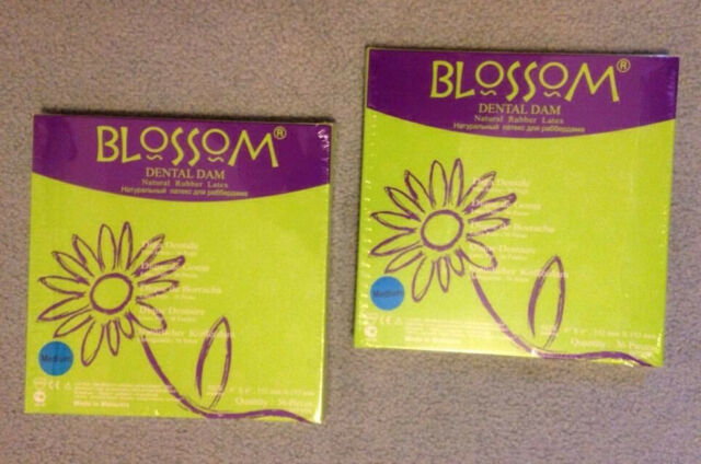 "2 x Blossom Rubber Dental Dam, 5"" x 5"" BLUE"