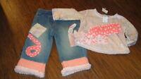 Boutique Little Mass 12m 12 Months Jeans And Shirt Set
