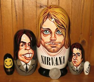 NIRVANA-Kurt-Cobain-Matryoshka-nesting-dolls-Krist-Novoselic-Dave-Grohl-5-signed
