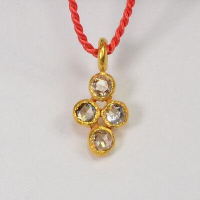 4.8mmx9.8mm 18k Solid Yellow Gold Rose Cut Champagne Diamond Charm Pendant