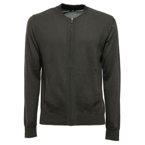 8587k Maglione Uomo Hosio Green Wool Sweater Full Zip Man