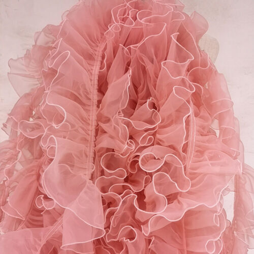 1Yard Organza Lace Trim Pleated Mesh Tulle Ribbon Clothing Curtain Sew Decor DIY