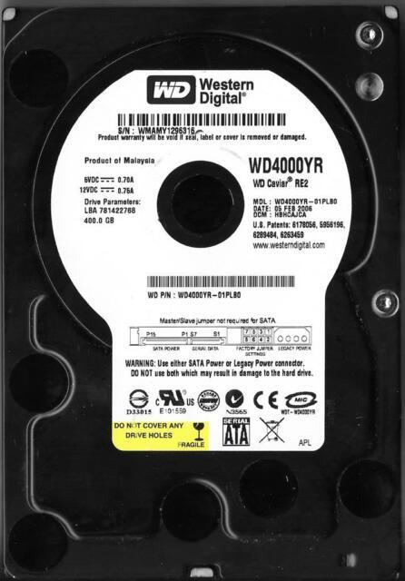 WESTERN DIGITAL WD4000YR-01PLB0 400GB SATA HARD DRIVE  DCM: HBHCAJCA