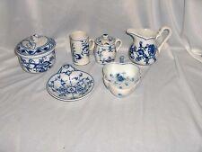 Vintage Antique 8 Pc Lot Porcelain Blue Onion Zwiebelmuster Flow Blue NICE