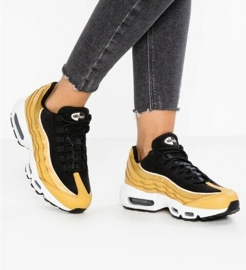 Nike Air Max 95 LX Womens Aa1103 700 Wheat Gold Black Running Shoes Size 9