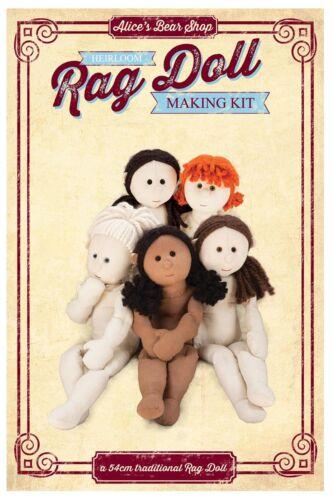 Coudre une poupée de chiffon Body Kit-Brown Calico//cheveux noir 54 cm quand Made