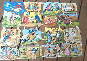 Vtg-Die-Cut-Scrap-Sheet-Childs-Fairy-Tales-Glanzbilder-MLP-1638-amp-1639-England