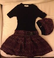 Maggie & Zoe Short Sleeved Sweater Dress With Matching Beret - Size 5/6 -