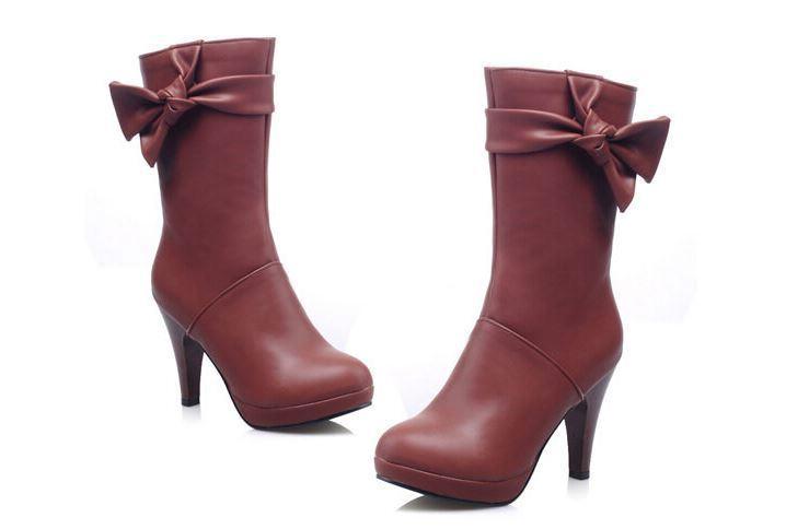 Bottines bottes femme talon 12 cm rouge nœud ruban élégant confortable 8962