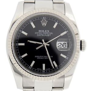 Rolex-Datejust-Mens-Stainless-Steel-Watch-18K-White-Gold-Bezel-Black-Dial-116234