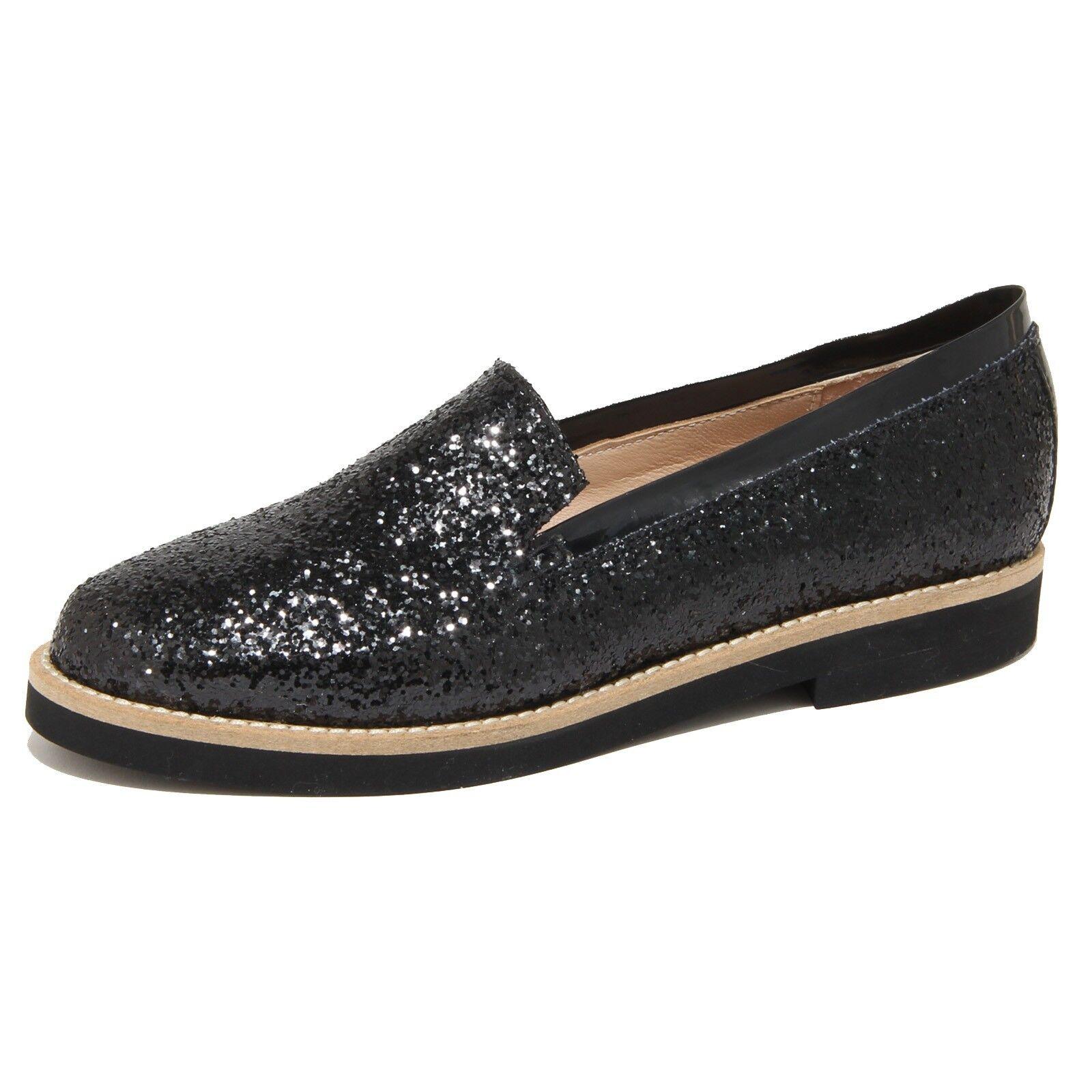 8976N mocassino mujer Santa Clara Brillo negro zapatos mujer
