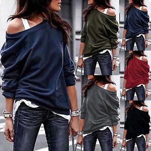 Senora-hombro-libre-manga-larga-camisa-jersey-Long-sueter-sudadera-ocio-Jumper