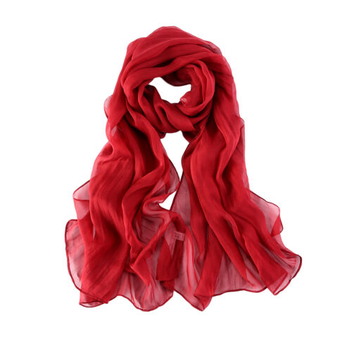 Long Silk Chiffon Scarf Solid Plain Red Color SQL008