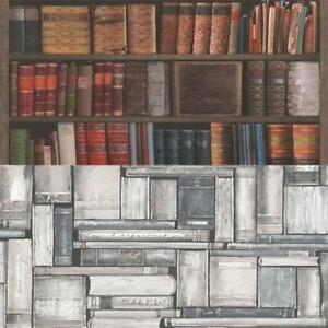 Rasch-Luxury-Library-Bookcase-Vintage-Bookshelf-10m-Wallpaper-2-Colours