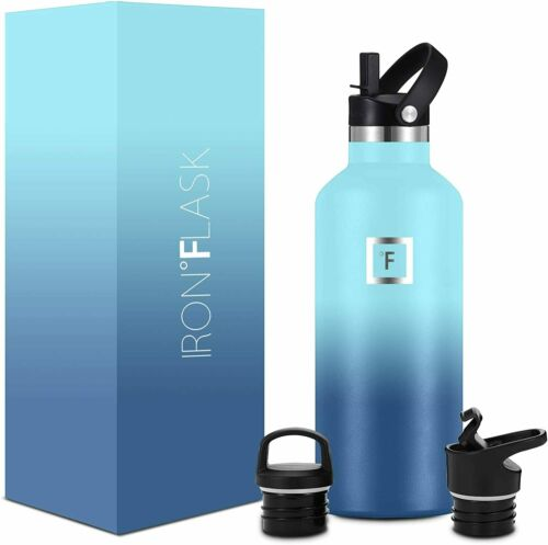 Vacuum Insulated Stainless Steel Water Bottle 12 Oz to 64 Oz Sport Iron Flask