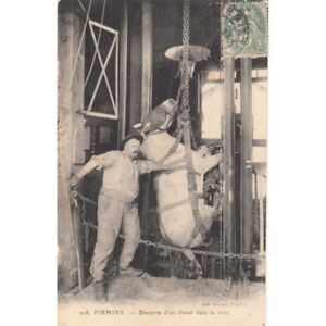 Cartes-postale-anciennes-FIRMINY-208-descente-d-039-un-cheval-dans-la-mine-timbree