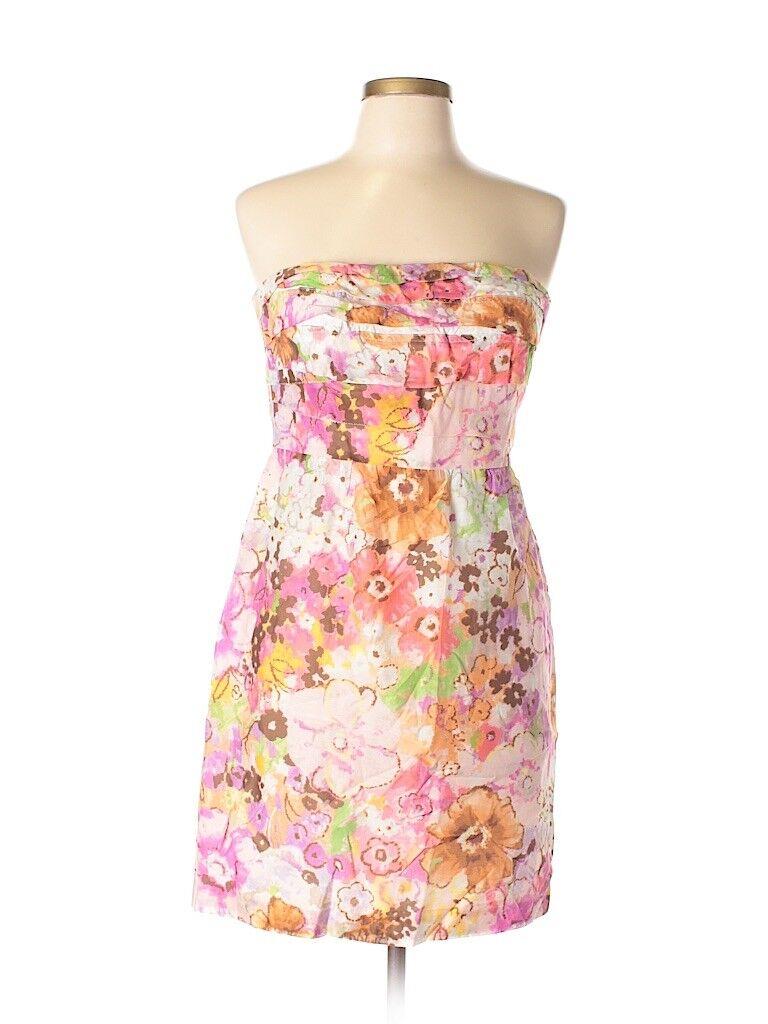 J Crew Floral Strapless Silk Ruffle Farbeful WaterFarbe Dress Größe 2