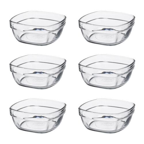 Duralex Set mit 6 Lys Quadratisch Stapel Schale,9cm Portion Schale Glas