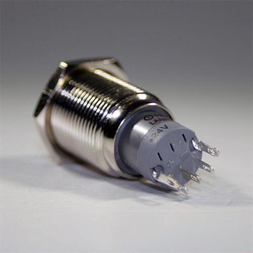 Interruptor de metal con iluminación LED amarillo 230v//3a máx presostatos redondo