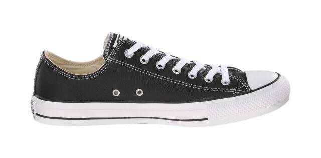 Converse Women Men Unisex All Star Lo Top Leather Shoes Black White Low  Chucks 808e4b897