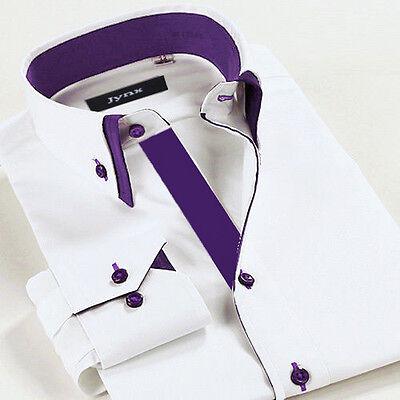 Men's Slim Fit Double Collar Casual Formal Purple Shirt Long Sleeve Purple DC01
