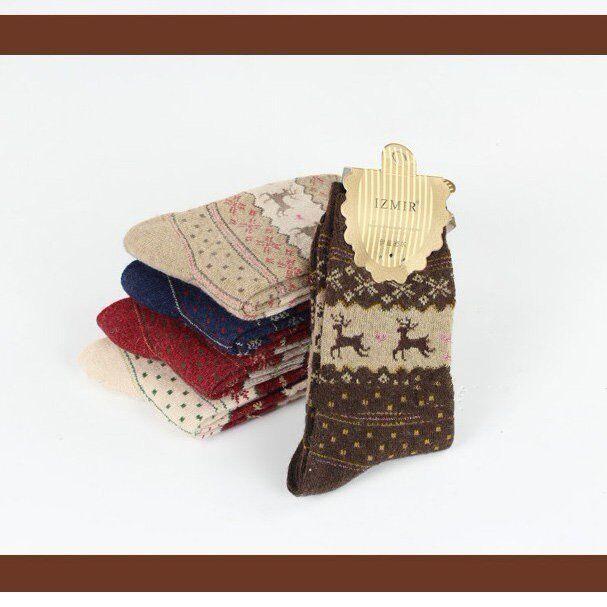 Christmas Snowflake Deer Design Womens Wool Socks Warm Winter Cute Sales O