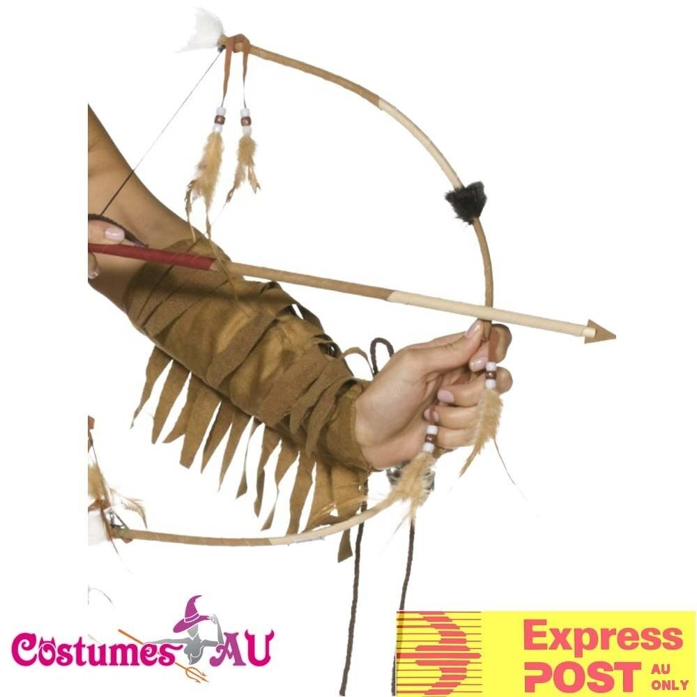 Feathered Western Indian Girl Native Bow Arrow Set Wild West Costume Accessories