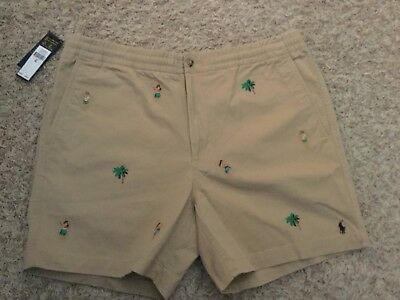 Polo Ralph Lauren Khaki Hawaiian Prepster Shorts Stretch Classic L Large NWT