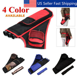 3-Tube-Hip-Back-Adjustable-Waist-Belt-Bow-Quiver-Archery-Arrows-Holder-Bag