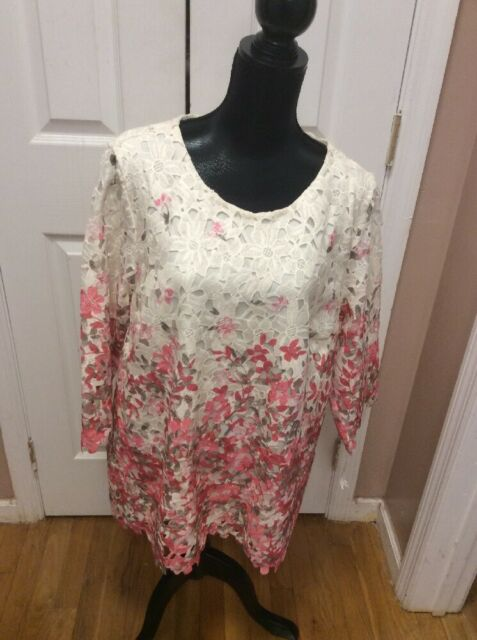 NWT Charter Club Printed Lace-Overlay Top Vintage Cream Combo XL Retails $89.00