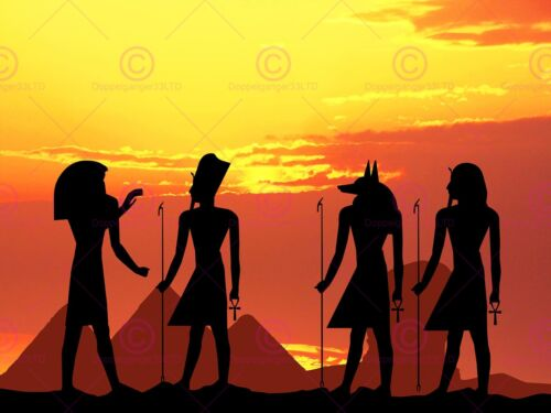 PAINTING EGYPTIAN GODS SILHOUETTE PYRAMID ART PRINT POSTER MP3102A