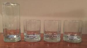 Vintage Luminarc Drinking Glass Set  Clear 10-Panel Glass Footed Set of 4