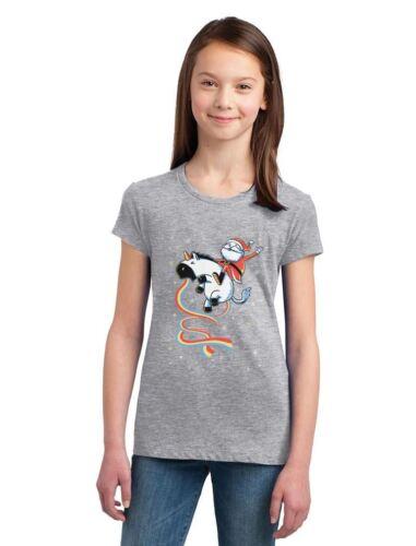 Santa Riding Vomiting Rainbow Unicorn Ugly Xmas Girls/' Fitted Kids T-Shirt Gift