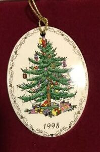 Spode Christmas Tree Porcelain Oval Ornament Dated 1998 ...