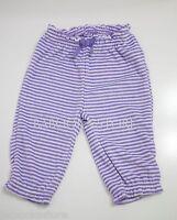 Gap Baby Girls Purple Pants Terry Purple And White Stripe Pants 0-3m