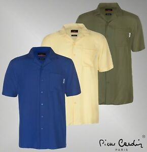 Mens-Branded-Pierre-Cardin-Lightweight-Viscose-Top-Short-Sleeve-Shirt-Size-S-3XL