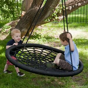 2-Person-Giant-Kids-Outdoor-Garden-Nest-Rope-Disc-Swing-Tree-Spider-Net-Mesh-Toy