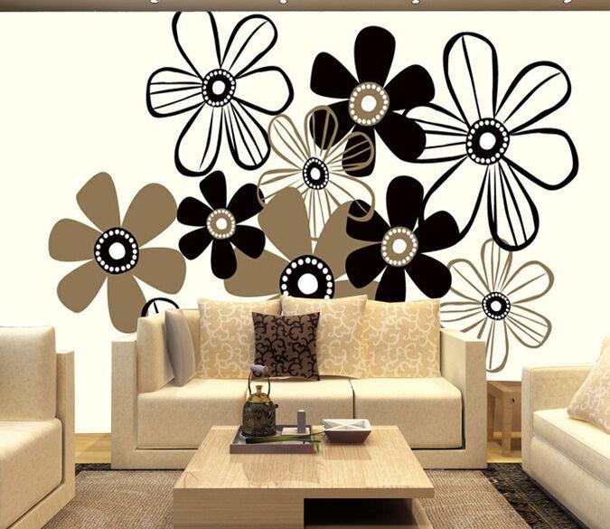 3D 3D 3D Fiori neri 234 Parete Murale Foto Carta da parati immagine sfondo muro stampa d17ed2
