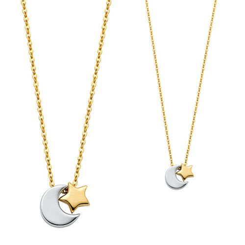 """14K Solid Real White Yellow Gold Moon /& Star Necklace 17+1/"""""""