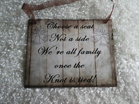 Wood Rustic Look Wedding Sign Gift Plaque Wall Hanging choose A Seat...